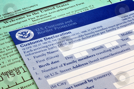 Arriving in the USA: Customs forms stock photo, Customs forms at border point of entry (USA) by Fernando Barozza