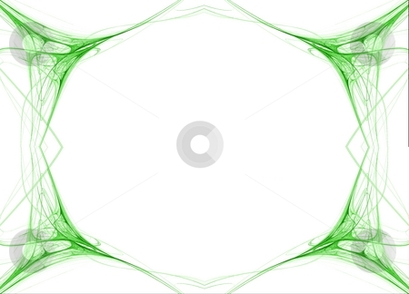 Fractal 42 Green Frame stock photo, Beautiful flows of green color build this fractal by Henrik Lehnerer