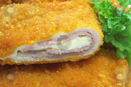 Cordon_Bleu stock photo, Cordon bleu in detail as background. Shot in studio. by Birgit Reitz-Hofmann