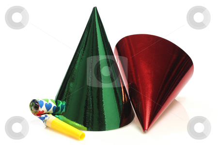Party hats stock photo, Party hats and whistle on bright background by Birgit Reitz-Hofmann