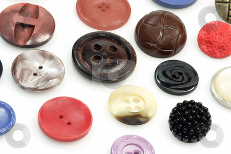 Buttons stock photo, Different colors and shades buttons on bright background by Birgit Reitz-Hofmann