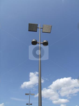 Solar powered stock photo, Solar powered electric city lantern on blue sky by Birgit Reitz-Hofmann