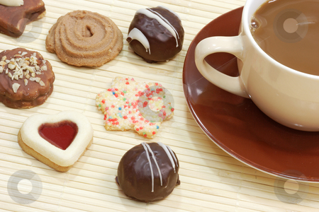 Cookies and coffee stock photo, Cup of delicious coffee with cookies on bright background by Birgit Reitz-Hofmann
