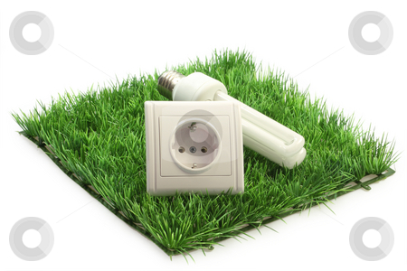 Economical stock photo, Energy saving lamp with power socket on a grass meadow on bright background by Birgit Reitz-Hofmann