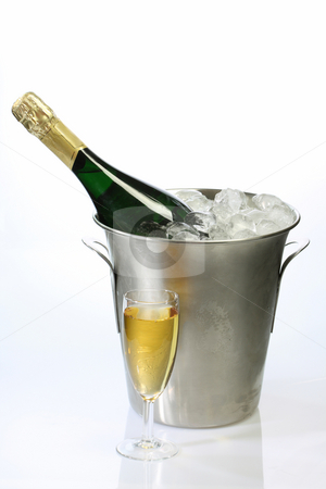 Champagne in a cooler stock photo, Champaigne bottle in a container with ice on bright background by Birgit Reitz-Hofmann