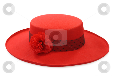 Ladies hat stock photo, Red ladies hat isolated on white background by Birgit Reitz-Hofmann