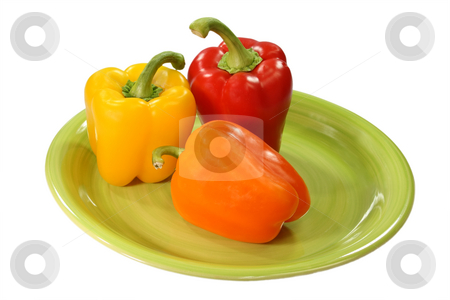 Raw paprica stock photo, Paprica on the plate isolated on white background by Birgit Reitz-Hofmann