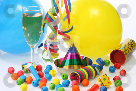 Festival stock photo, Party goods and champagne on bright background by Birgit Reitz-Hofmann
