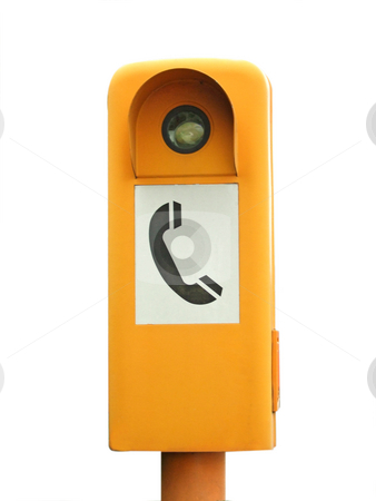 Emergency telephone stock photo, Emergency telephone box isolated on white background by Birgit Reitz-Hofmann