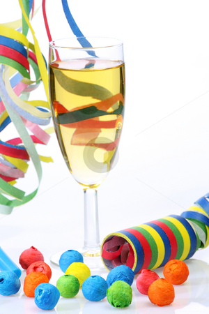Prosperous new year stock photo, Glass of champagne and streamer on bright background by Birgit Reitz-Hofmann