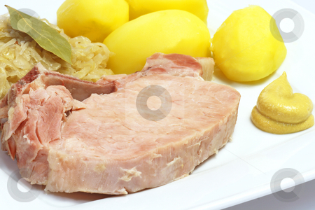 Ham Meat stock photo, Traditional german pork meat with sauerkraut and potatoes by Birgit Reitz-Hofmann