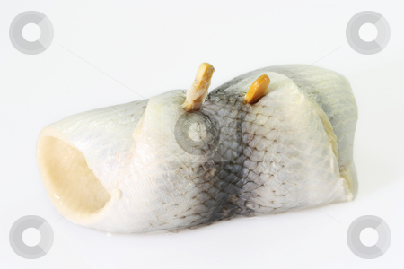 Rolled herring stock photo, Rolled herring on bright background. Shot in studio. by Birgit Reitz-Hofmann