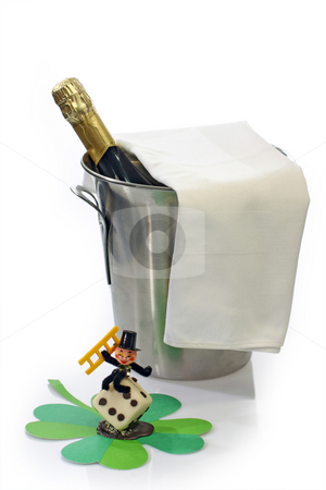 Happy New Year stock photo, Champagne toast composition with talisman on bright background by Birgit Reitz-Hofmann