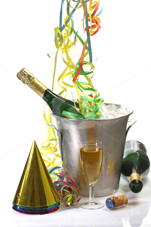 New Years Eve stock photo, Champaigne bottle in a cooler with ice and new years eve decoration by Birgit Reitz-Hofmann