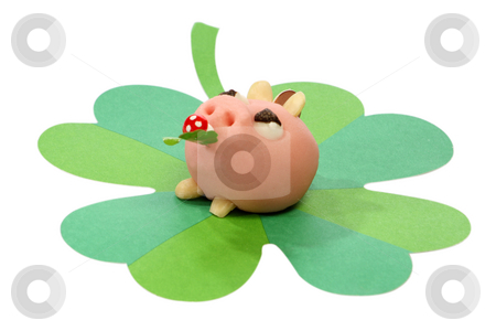 Lucky pig stock photo, Lucky marzipan pig with cloverleaf and mushroom, on bright background by Birgit Reitz-Hofmann