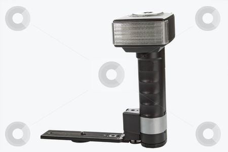 Camera flash stock photo, Black camera flash isolated on white background. by Birgit Reitz-Hofmann