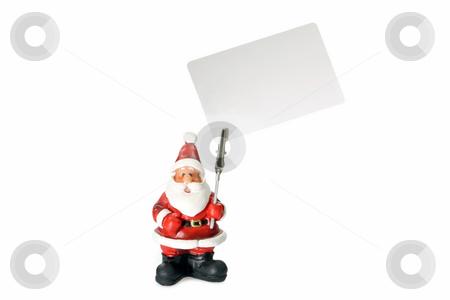 Paper holder stock photo, Santa clause figure as paper holder isolated on white background by Birgit Reitz-Hofmann