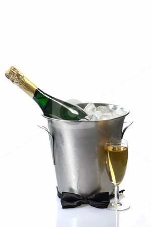 Festive stock photo, Champagne toast composition with bow tie on bright background by Birgit Reitz-Hofmann