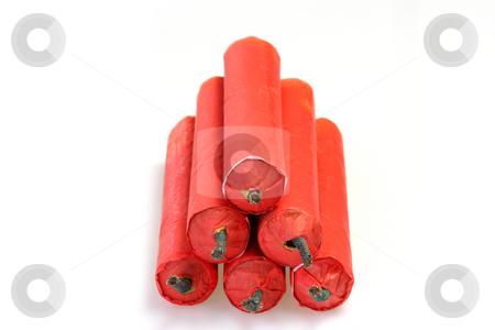 Firecrackers stock photo, Red Firecrackers on bright background by Birgit Reitz-Hofmann
