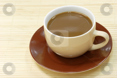 Cup of coffee stock photo, Cup of delicious coffee on bright background by Birgit Reitz-Hofmann