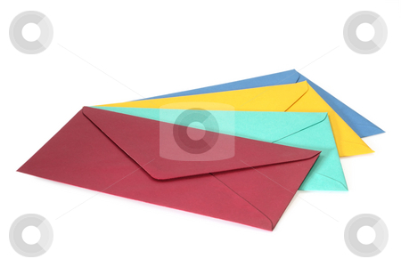 Envelopes stock photo, Colorful envelopes isolated on white background by Birgit Reitz-Hofmann