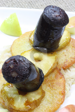 Black Pudding stock photo, Black Pudding with apple slice potato pancake and sauerkraut.Traditional german meal called Heaven and Earth. by Birgit Reitz-Hofmann