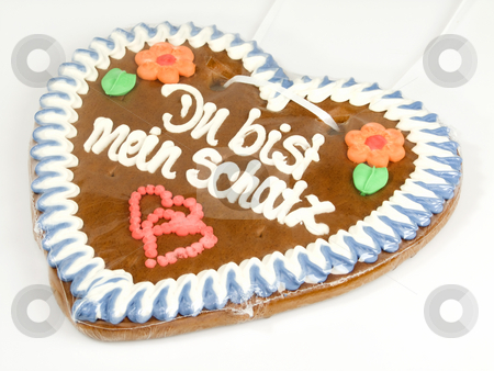 Gingerbread heart_3 stock photo, Traditional bavarian gingerbread heart on bright background by Birgit Reitz-Hofmann