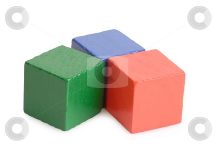 Toy Bricks stock photo, Wooden toy bricks isolated on white background by Birgit Reitz-Hofmann