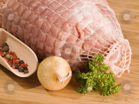 Pork meat stock photo, Fresh pork in detail meat on kitchen board by Birgit Reitz-Hofmann