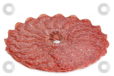 Salami stock photo, Fresh salami on bright background by Birgit Reitz-Hofmann