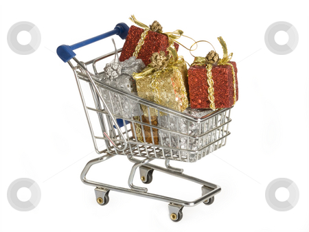 Presents stock photo, Shopping trolley with presents  isolated on white background by Birgit Reitz-Hofmann