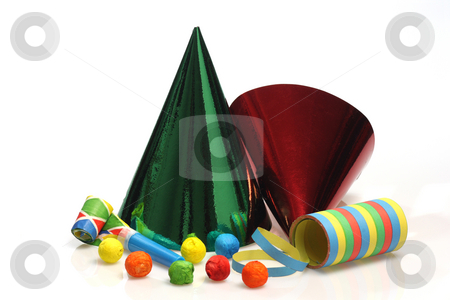 Colorful party goods stock photo, Colorful party goods on bright background by Birgit Reitz-Hofmann
