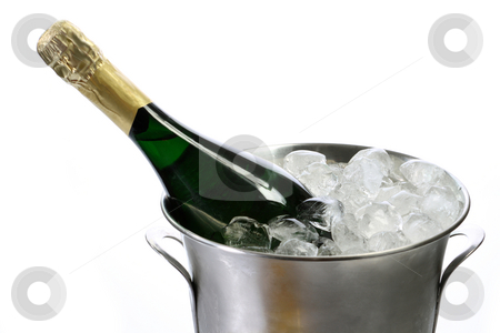 Champagner stock photo, Champagne bottle in a cooler with ice on white background by Birgit Reitz-Hofmann