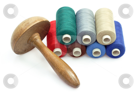 Sewing kit stock photo, Sewing kit on bright background. Shot in studio. by Birgit Reitz-Hofmann
