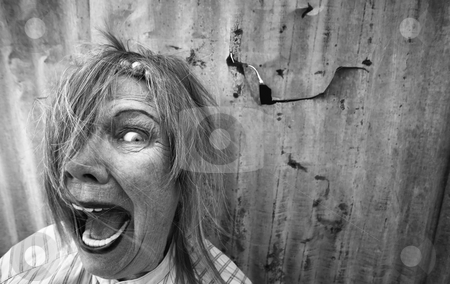 Homeless Woman Screaming stock photo, Senior homeless woman with too much makeup screaming by Scott Griessel