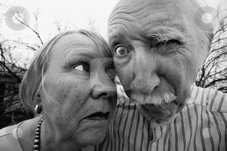 Crazy Couple stock photo, Closeup portrait of crazy elderly couple outdoors by Scott Griessel