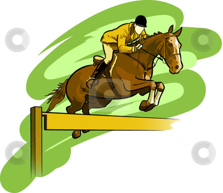 Equesrtrian stock vector clipart, A vector illustration of an athlete engaged in the sport of horse jumping. by Erasmo Hernandez