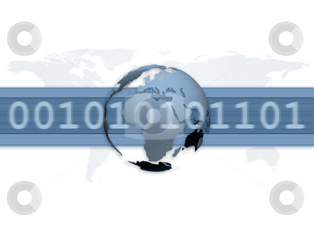 Digital World Wide Communication stock photo, An illustration for digital world wide communication with a 3d globe by Alexander Zschach