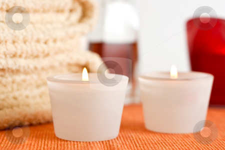 Wellness stock photo, A set of candles, massage oil and towels by Alexander Zschach