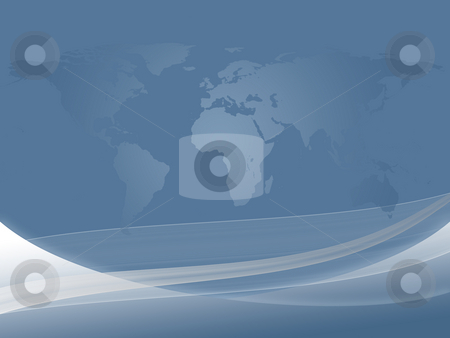 Abstract World Map stock photo, Abstract dynamic background and world map in gradient light blue by Alexander Zschach