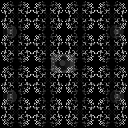 Ornate black and white seamless wallpaper pattern stock vector clipart, Ornate floral texture pattern, that will tile seamlessly. Use of 2 global colors, linear gradients. by Ina Wendrock