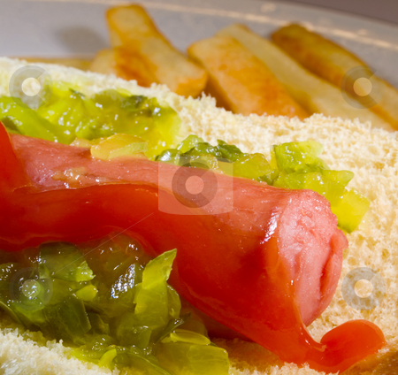Hot Dog stock photo, Hot dog with relish ready to eat or serve by Ira J Lyles Jr