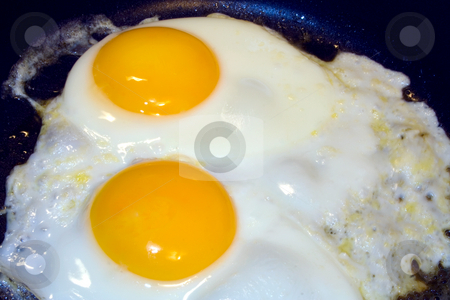 Frying Eggs stock photo, Eggs being fried in skillet for meal by Ira J Lyles Jr