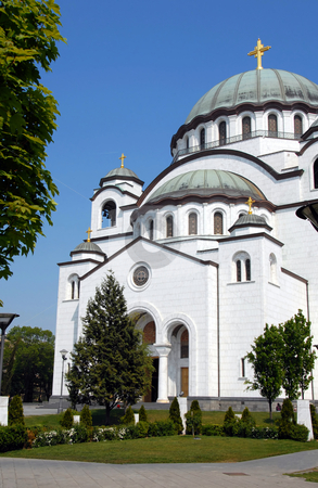 Sveti Sava cathedral in Belgrade stock photo, Sveti Sava cathedral over blue sky in Belgrade, Serbia by Julija Sapic