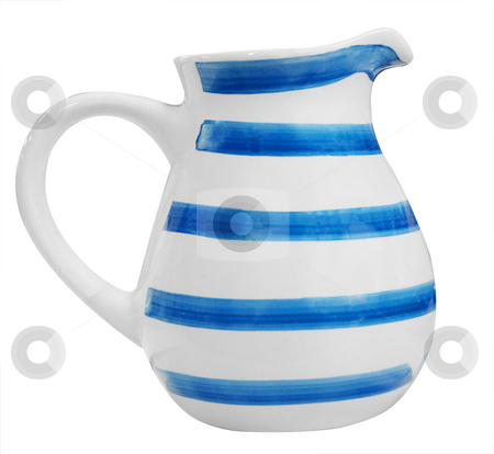 Blue Striped Milk Jug stock photo, Blue Striped Milk Jug isolated with clipping path by Margo Harrison