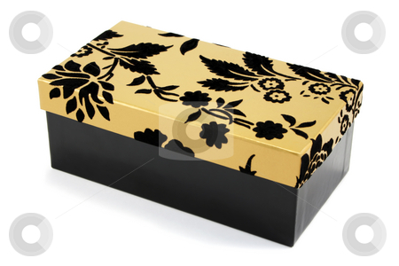 Black and Gold Gift Box stock photo, Black gift box with black flock and gold lid on a white background by Helen Shorey