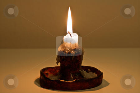 Candle Light stock photo, Backdrop, burning, candle, close up, das, fire, Flame, handmade, holder, light, on, original, table, wax, white by Creative Shield