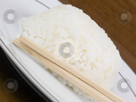Rice close up stock photo, Rice bowl close up view with chop sticks by John Teeter
