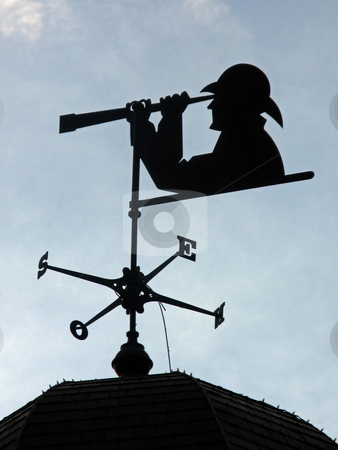 Weather Vane stock photo, A weather vane with person looking through a telescope. by Lucy Clark