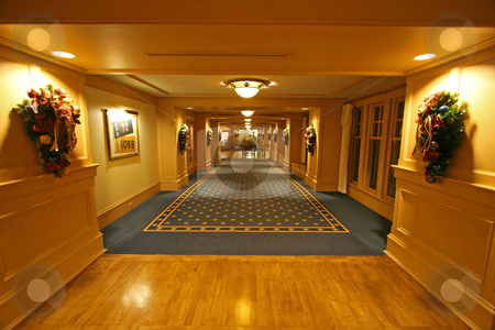 Hotel Corridor stock photo, A look down a long hotel corridor by Lucy Clark